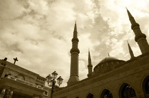 A_church_and_a_mosque_in_Beirut_Lebanon